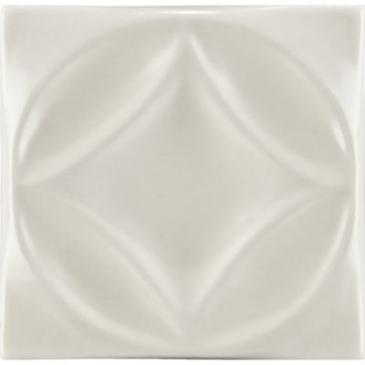 "4"" x 4"" harlequin circle decorative tile in warm candle white gloss"