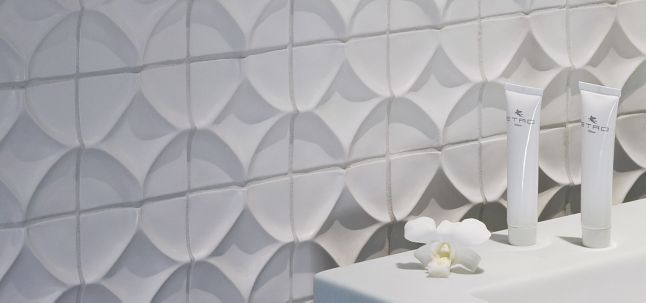 "4"" x 4"" harlequin decorative tile in bright white matte"