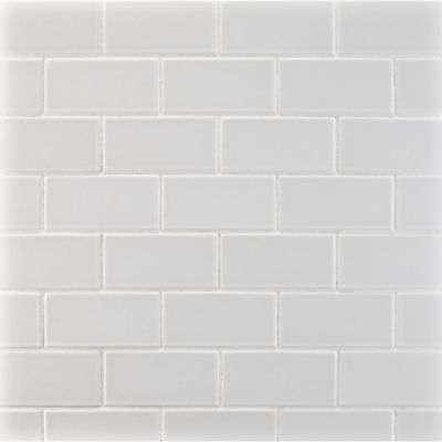 """1-3/4"""" x 3-5/8"""" offset mosaic in gloss white"""