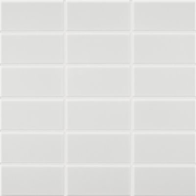 """1-3/4"""" x 3-5/8"""" stacked mosaic in gloss white"""