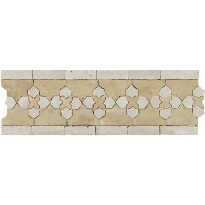 "4"" x 12"" marrakech border in natural and white"