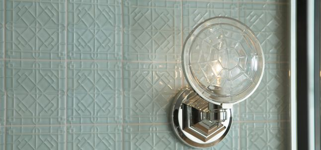 "4-1/4"" x 4-1/4"" modern fretwork field in hill blue gloss with KALLISTA Michael S Smith For Town mirror and sconce with baccarat lens (photographer: Mike Huibregtse)"