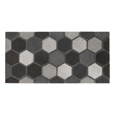 lava calda 2 inch hexagon mosaic in grey blend