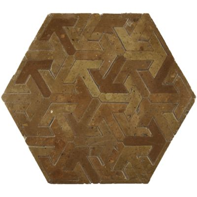 "12-1/2"" x 12-1/2"" esagano field in red brick terra cotta and yellow brick terra cotta"
