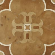 """13-3/4"""" x 13-3/4"""" fiore field in cotto giallo terra cotta, cotto rosso terra cotta, cotto arancione terra cotta and white limestone"""