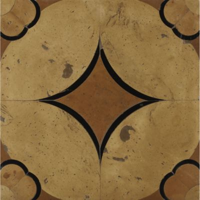 "13-3/4"" x 13-3/4"" rombo field in cotto rosso terra cotta, cotto giallo terra cotta, cotto arancione terra cotta and black slate"