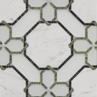 renwick grande mosaic in diamond white clear glass, diamond white frost glass, statuario in polished finish, avocado and verde dark in honed finish