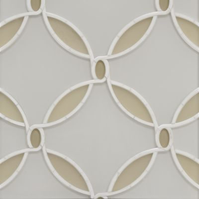 waldorf grande mosaic in moonstone white clear glass, citrine gold clear and frost glass, calacatta oro stone in honed finish