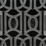 lexington petite mosaic in pearl grey clear glass, nero panthera stone and nero marquina marble