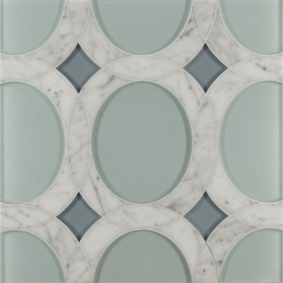 rockefeller oval medium mosaic in aquamarine blue clear glass, abalone blue clear glass and bianco carrera marble in honed finish
