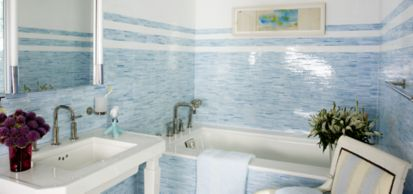 sticks mosaic in sky blue and white (designer: Russell Groves Interior Design, photographer: Francesco Lagnese)