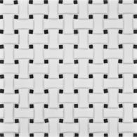 "6"" x 18"" basketweave mosaic in white matte with black dot"