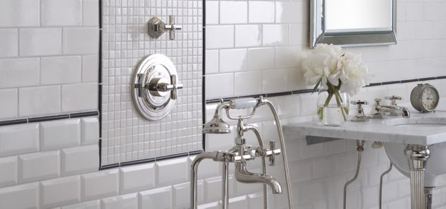 """3"""" x 6"""" beveled field, 3"""" x 6"""" field, and 1"""" x 1"""" field in white gloss and domed liner molding in basalt matte with KALLISTA Michael S Smith For Town plumbing (photographer: Rich Maciejewski)"""