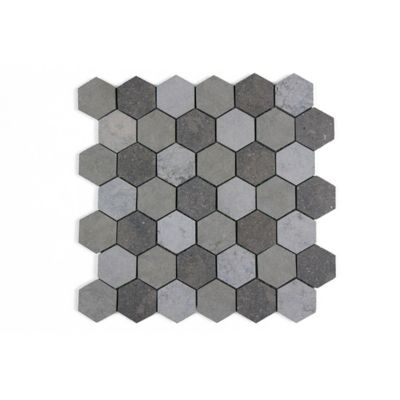 "Melange Gris 2"" Hexagon Mosaic in a blend of Bateig Blue (honed), Saint Louis (Linen) and Cote d'Azure (leather)"