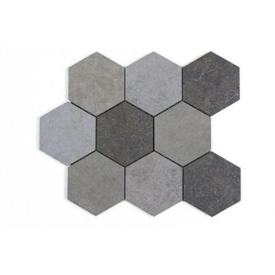 "Melange Gris 4"" Hexagon Mosaic in a blend of Bateig Blue (honed), Saint Louis (Linen) and Cote d'Azure (leather)"