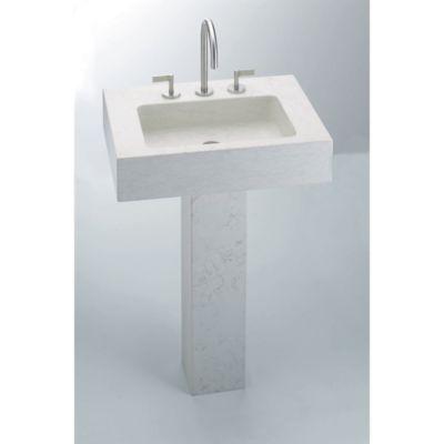 "24"" stone pedestal in biancone"