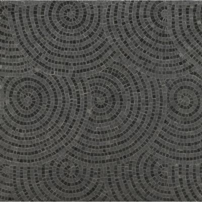 woven circle mosaic with eclipse marble in honed and hammered finish