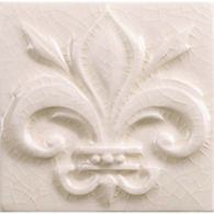 "4"" x 4"" fleur de lis decorative tile in cream crackle"