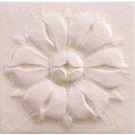 "4"" x 4"" rosette decorative tile in cream crackle"