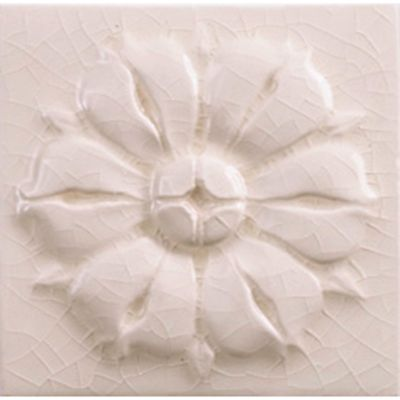 "4"" x 4"" rosette decorative tile in cream crackle"