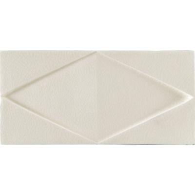"3"" x 4"" folded diamond decorative tile in cream crackle"
