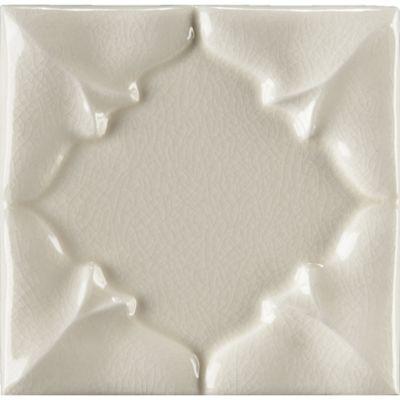 """4"""" x 4"""" folded petal decorative tile in cream crackle"""