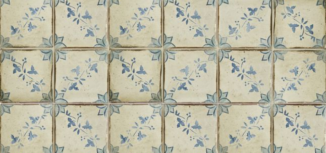 "4-5/8"" x 4-5/8"" la spezia 1 decorative tile in robin's egg, off white and colonial blue"