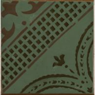 "4-5/8"" x 4-5/8"" gitanos 1 decorative tile in mocka, antique green and paprika"