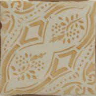 "4-5/8"" x 4-5/8"" gitanos 2 decorative tile in off white and coral"
