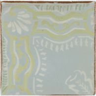 "4-5/8"" x 4-5/8"" gitanos 3 decorative tile in robin's egg, ochre, off white and antique green"
