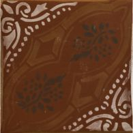 "4-5/8"" x 4-5/8"" gitanos 4 decorative tile in ochre, extra virgin, paprika and off white"