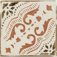 "4-5/8"" x 4-5/8"" gitanos 7 decorative tile in off white, dark stain and paprika"