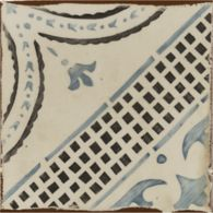 "4-5/8"" x 4-5/8"" la spezia 4 decorative tile in off white, royal blue and charcoal"