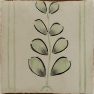 "4-5/8"" x 4-5/8"" mediterranean border decorative tile in off white, antique green and charcoal"