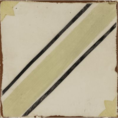 "4-5/8"" x 4-5/8"" twz 36 decorative tile in off white, green tea, charcoal and ochre"