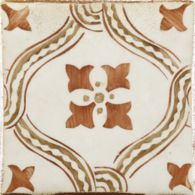 "4-5/8"" x 4-5/8"" yaffo 1 decorative tile in paprika, mocka and off white"