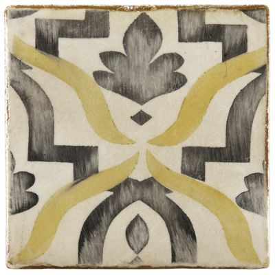 "4-5/8"" x 4-5/8"" yaffo 3 decorative tile in honey, charcoal and off white"