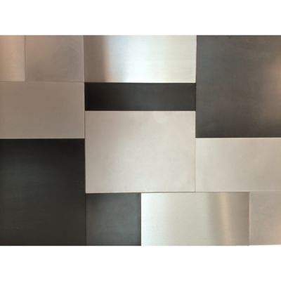 urban scape pattern in antique steel, brushed steel and raw steel