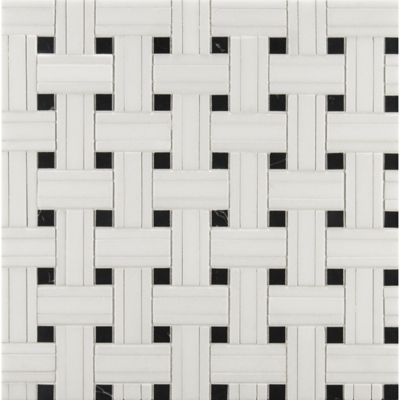 white thassos/nero tri-weave mosaic in honed finish