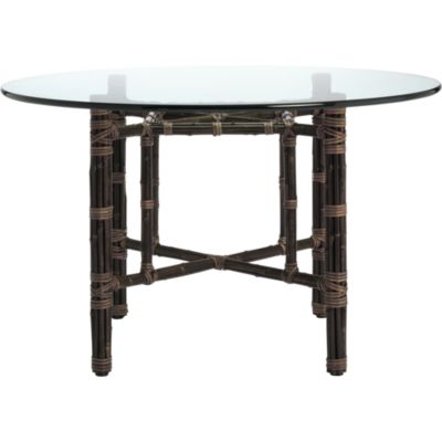 Square Table With Four Legs In Black Bamboo