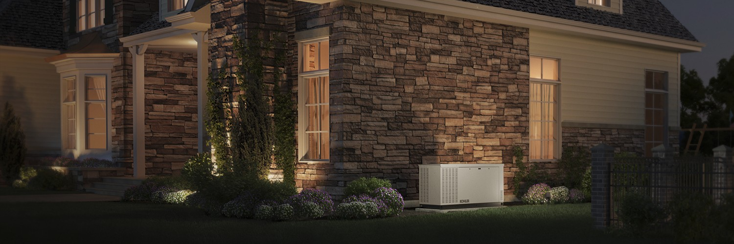 Home at night, full power with kohler generator