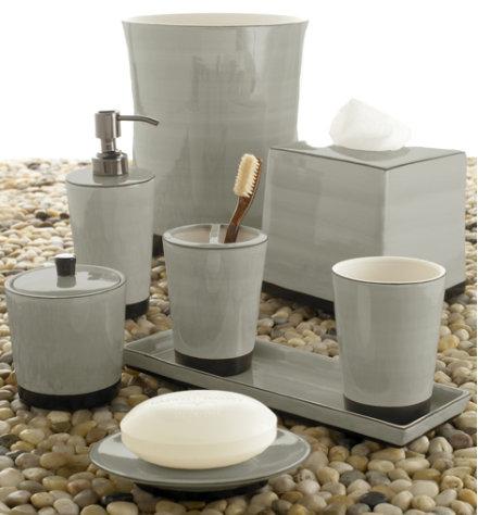 Luxury bath accessories kassatex for Grey bath accessories