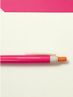 Yours Sincerely Pen & Notecard Set by kate spade new york