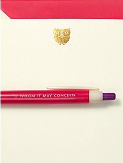 To Whom It May Concern Pen & Notecard Set by kate spade new york