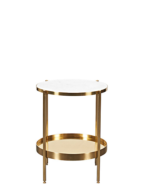 Kate Spade Fullerton End Table, Polished Brass/White Marble