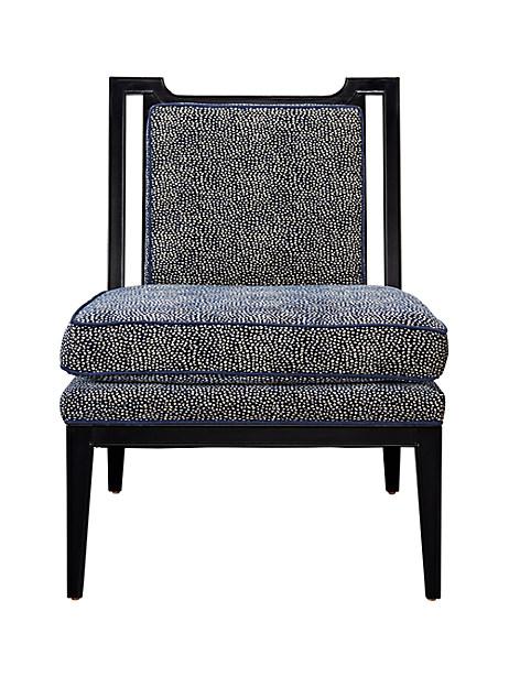 Kate Spade Stillwell Lounge Chair, Navy/Cream Mini Dot