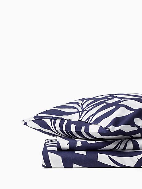 Kate Spade Palm Fronds Duvet Set, Navy - Size KING