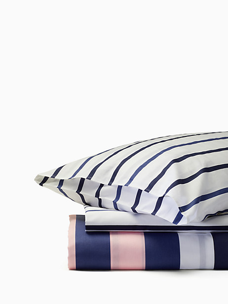 Kate Spade Chesapeake Stripe Twin Duvet Set, Navy/Wht/Pink - Size TWIN