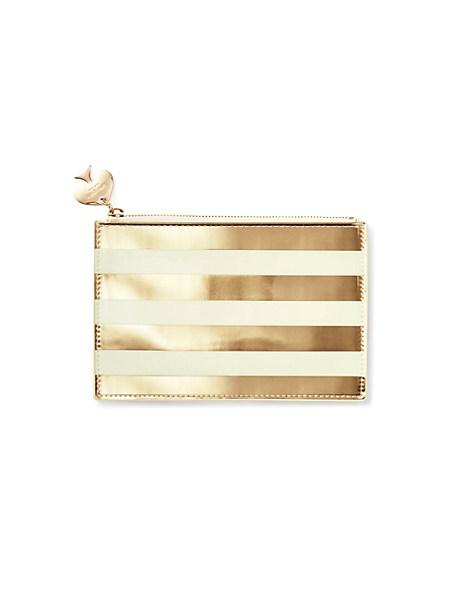 Kate Spade Gold Stripe Pencil Pouch, Gold