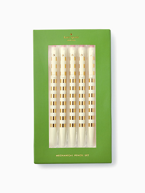 Kate Spade Gold Stripe Pencil Set, Gold